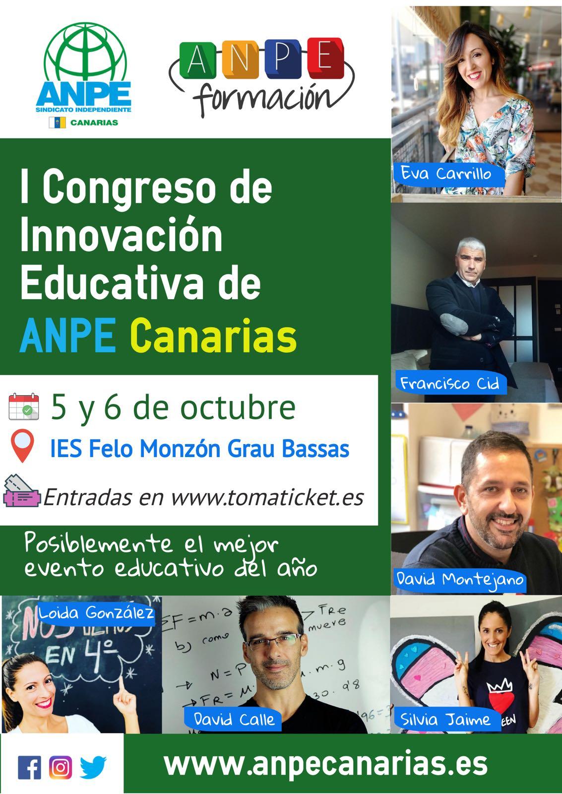 I Congreso de Innovación Educativa de ANPE Canarias del 5 al 6 de octubre en el IES Felo Monzón.